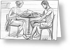 Couple Reading Black And White Greeting Card