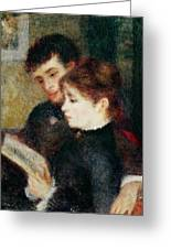 Couple Reading Greeting Card by Pierre Auguste Renoir