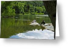 Couple Relaxing By The Shenandoah River At Harpers Ferry Greeting Card