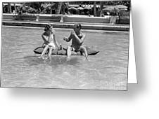 Couple Relaxing In Pool, C.1930-40s Greeting Card