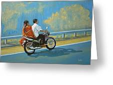 Couple Ride On Bike Greeting Card