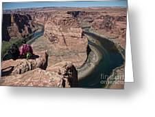 Couple Viewing Horseshoe Bend High Up Edge  Greeting Card
