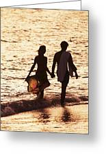 Couple Wading In Ocean Greeting Card