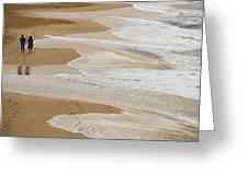 Couple Walking Makena Beach Greeting Card