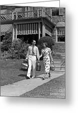 Couple Walking Out Of House, C.1930s Greeting Card