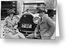 Couple With Their Peerless Car Greeting Card