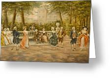 Couples On Veranda Of Chateau Greeting Card