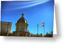 Courthouse And Flags Greeting Card