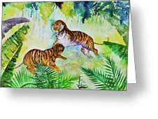 Courting Tigers. Greeting Card by Larry  Johnson