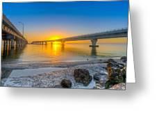 Courtney Campbell Bridge Sunrise - Tampa, Florida Greeting Card