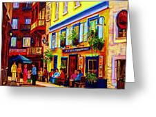 Courtyard Cafes Greeting Card by Carole Spandau