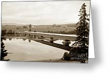 Very Long Covered Bridge Over A River Greeting Card