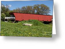 Covered Bridge Across The River Greeting Card