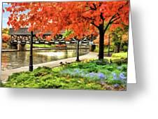 Covered Bridge Along Riverwalk Greeting Card