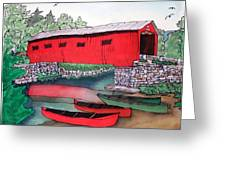 Covered Bridge And Canoes Greeting Card