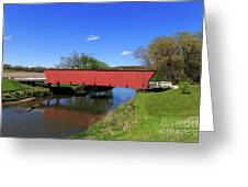 Covered Bridge And Reflection Greeting Card