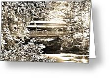 Covered Bridge At Lanterman's Mill Black And White Greeting Card