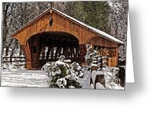 Covered Bridge At Olmsted Falls-winter-2 Greeting Card