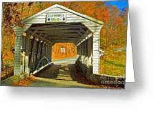 Covered Bridge Impasto Oil Greeting Card