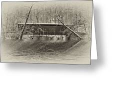 Covered Bridge In Black And White Greeting Card