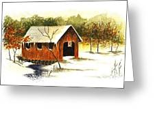 Covered Bridge In The Snow Greeting Card