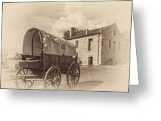 Covered Wagon And Stone Building Sepia Greeting Card