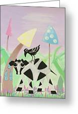 Cow And Crow In The Land Of Mushrooms Greeting Card