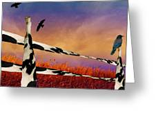 Cow Fence Greeting Card
