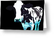 Cow In A Black World Greeting Card