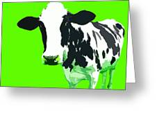 Cow In A Green World Greeting Card