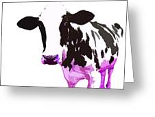 Cow In A White World Greeting Card