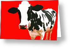 Cow In Red World Greeting Card