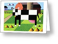 Cow Squared With Barn Big Greeting Card