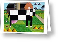 Cow Squared With Barn Left Greeting Card