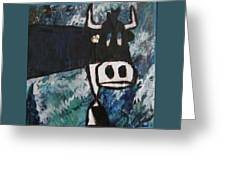 Cow With A Pearl Earring Greeting Card