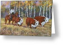 Cowboy And Cows Greeting Card