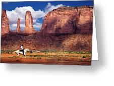Cowboy And Three Sisters Greeting Card