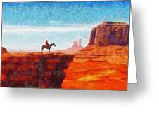 Cowboy At Monument Valley In Utah - Da Greeting Card