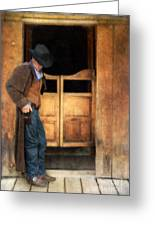 Cowboy By Saloon Doors Greeting Card