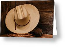 Cowboy Hat And Gear Greeting Card