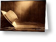 Cowboy Hat In The Old Barn Greeting Card