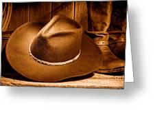 Cowboy Hat - Sepia Greeting Card