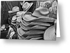 Cowboy Hats Black And White Greeting Card