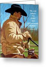 Cowboy In Pastel With Scripture Verse Greeting Card