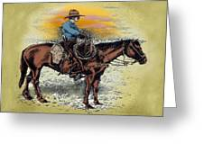 Cowboy N Sunset Greeting Card