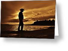 Cowboy Silhouette At Wilson Lake In Kansas Greeting Card
