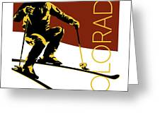 Colorado Cowboy Skier Greeting Card by Sam Brennan