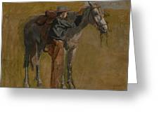 Cowboy - Study For Cowboys In The Badlands Greeting Card