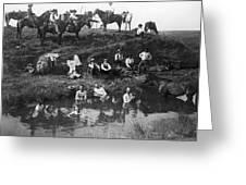 Cowboys Bathing Greeting Card