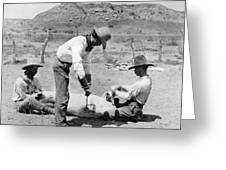 Cowboys: Branding Cattle Greeting Card